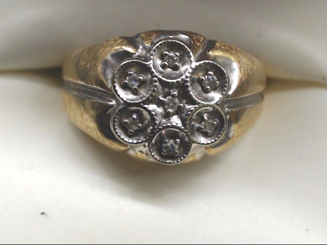 Gent's Diamond Cluster Ring 7 Diamonds .14 Carat T.W. 14K Yellow Gold 4g Size:9
