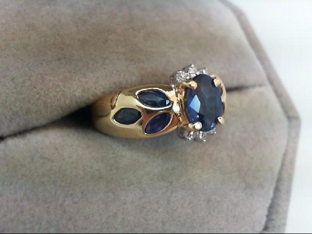 Sapphire Lady's Stone & Diamond Ring 6 Diamonds .06 Carat T.W. 14K Yellow Gold
