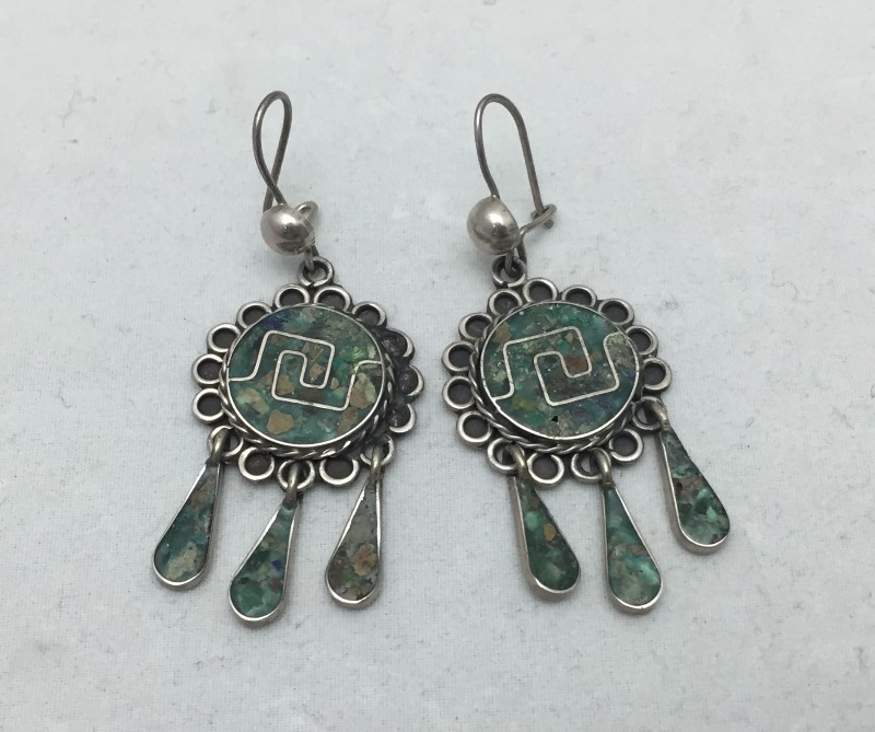 Sterling Silver Vintage Taxco EVM Dangle Chandelier Earrings Made In Mexico