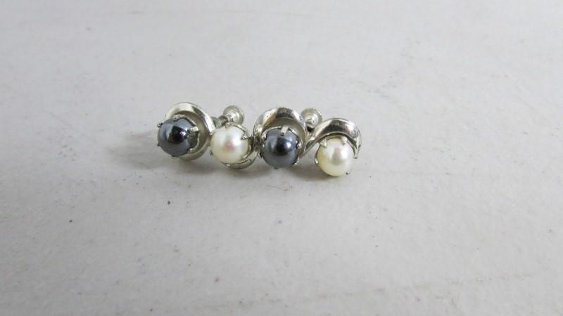 Synthetic Pearl Silver-Stone Earrings 900 Silver 8.28g