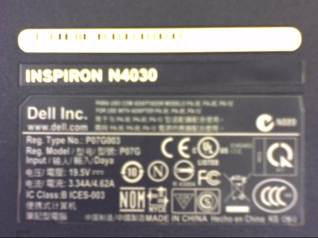 DELL PC Laptop/Netbook INSPIRON N4030