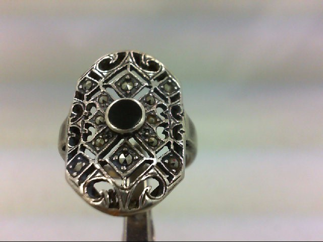 Beuatiful Ladys ONYX/MARCASITE SIL RING 5.4GR Lady's Silver Ring 925 Silver 5.4g