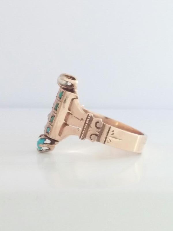 Turquoise Lady's Stone Ring 14K Rose Gold 3.47g