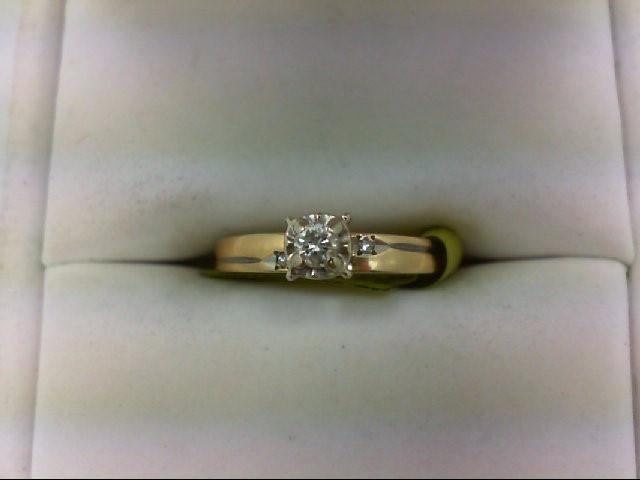 Lady's Diamond Engagement Ring 3 Diamonds 0.1 Carat T.W. 14K Yellow Gold 1.7g Si
