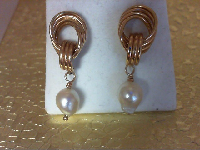 Pearl Gold-Stone Earrings 14K Yellow Gold 2.5g