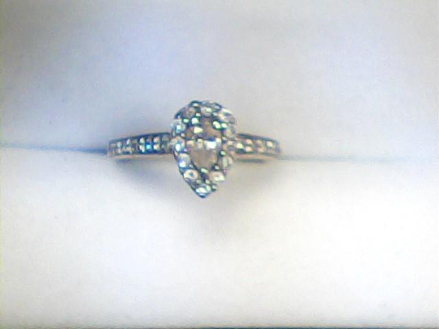 Lady's Diamond Engagement Ring 25 Diamonds .73 Carat T.W. 14K White Gold 2dwt