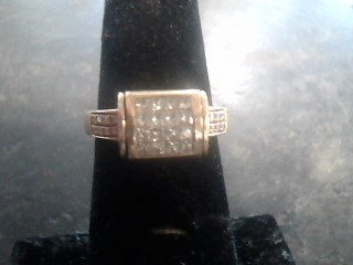 Synthetic Aquamarine Lady's Stone & Diamond Ring 32 Diamonds .80 Carat T.W.