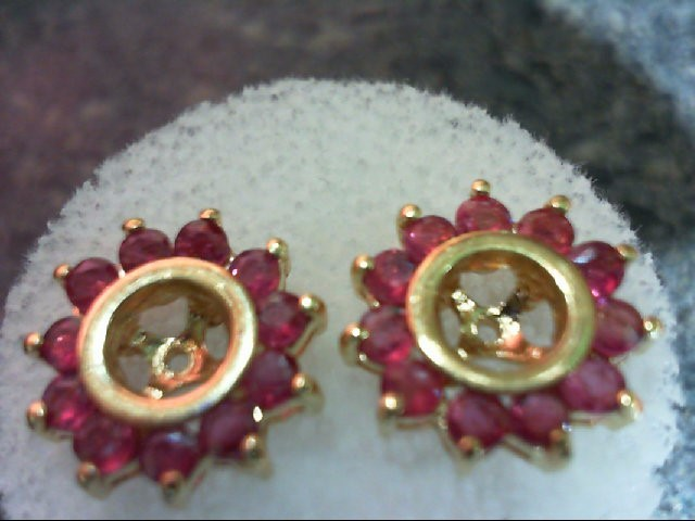 Ruby Gold-Stone Earrings 14K Yellow Gold 2.3g