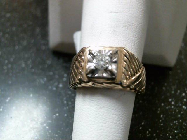 Gent's Diamond Solitaire Ring .23 CT. 14K Yellow Gold 8g Size:7.5