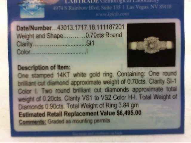 Lady's Diamond Engagement Ring 3 Diamonds .90 Carat T.W. 14K White Gold 3.84g
