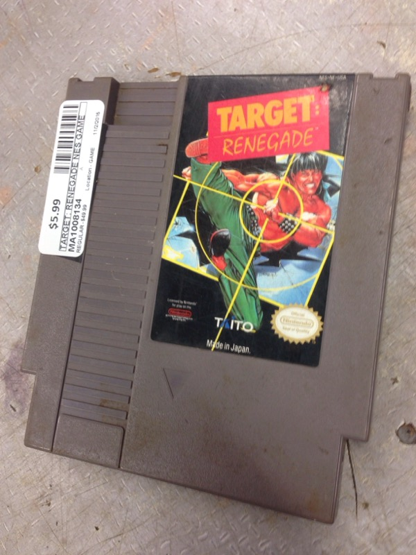 NINTENDO NES GAME TARGET: RENEGADE