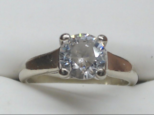 Synthetic Cubic Zirconia Lady's Stone Ring 14K White Gold 3.3g Size:5.25