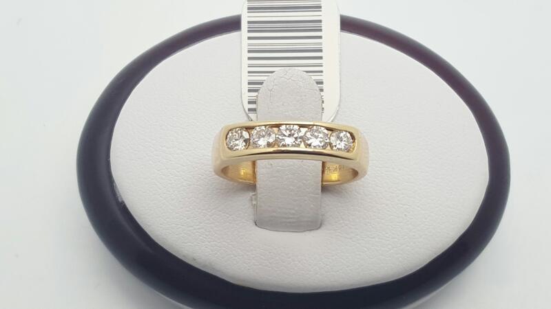 Lady's Gold-Diamond Anniversary Ring 5 Diamonds .50 Carat T.W. 14K Yellow Gold