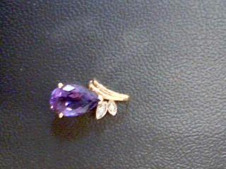 Amethyst Gold-Diamond & Stone Pendant 2 Diamonds .02 Carat T.W. 14K Yellow Gold