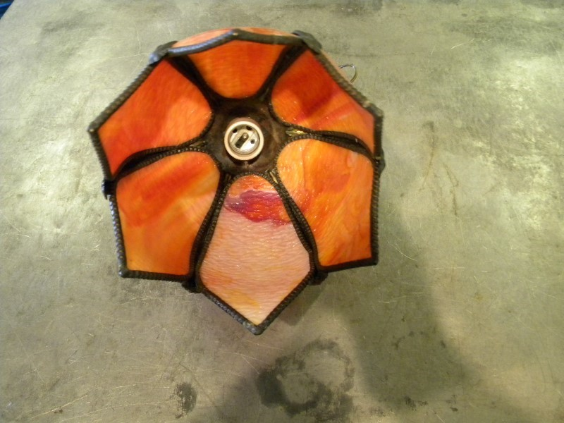 ORANGE STAINED GLASS HANGING LAMP