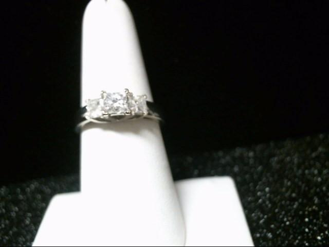 Lady's Diamond Engagement Ring 3 Diamonds 1.32 Carat T.W. 14K White Gold 5.3g