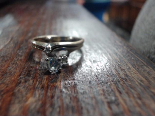 Lady's Diamond Wedding Set 3 Diamonds .40 Carat T.W. 18K White Gold 4.3g