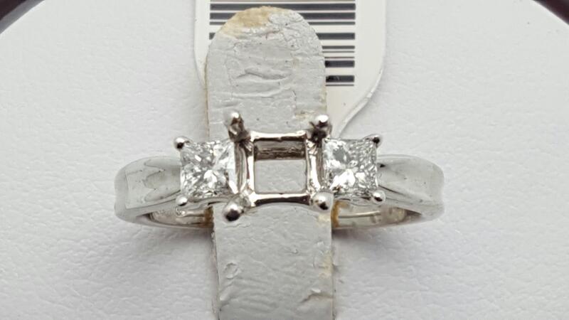 Lady's Diamond Engagement Ring 2 Diamonds 0.48 Carat T.W. 18K White Gold 4.3g Si
