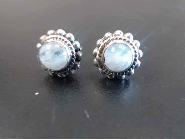Synthetic Moonstone Silver-Stone Earrings 925 Silver 2.84g