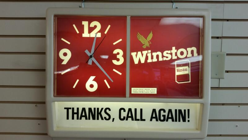 "Vintage Winston Cigarettes Light Up Clock ""Thanks, Call Again"" Sign"