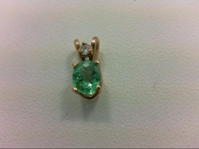 Emerald Gold-Diamond & Stone Pendant 0.02 CT. 14K Yellow Gold 0.41g
