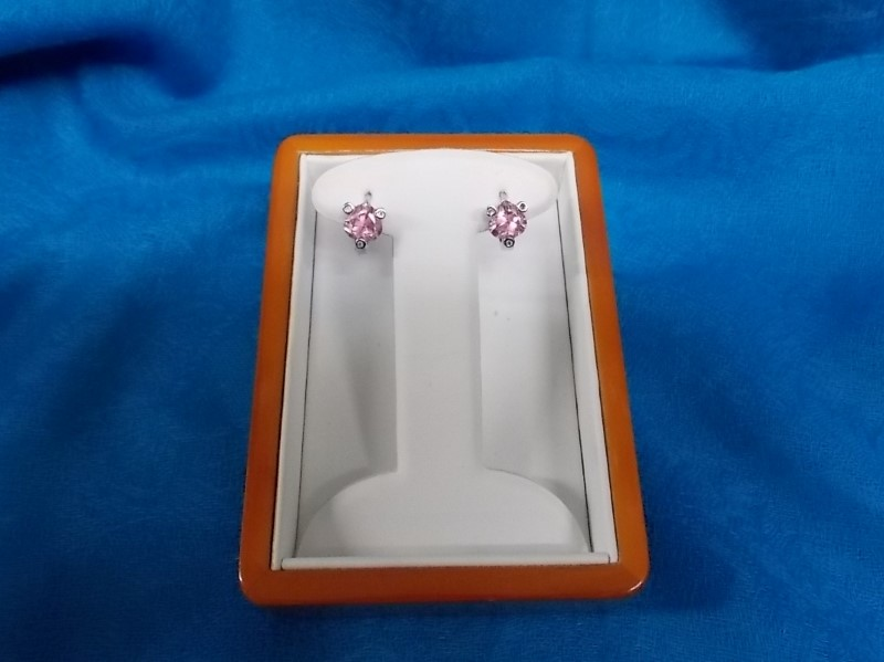 Pink Stone Silver-Stone Earrings Silver Plate 1.7dwt