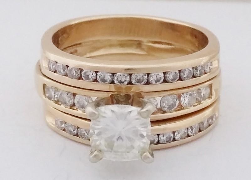 Budget-Friendly .77ct. Moissanite & Diamond Wedding Set Size: 7