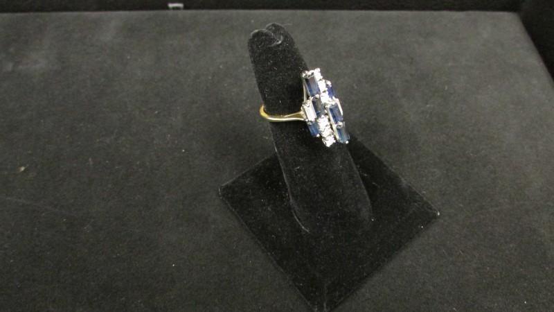 Antique Blue Stone Lady's Stone & Diamond Ring 8 Diamonds .84 Carat T.W.