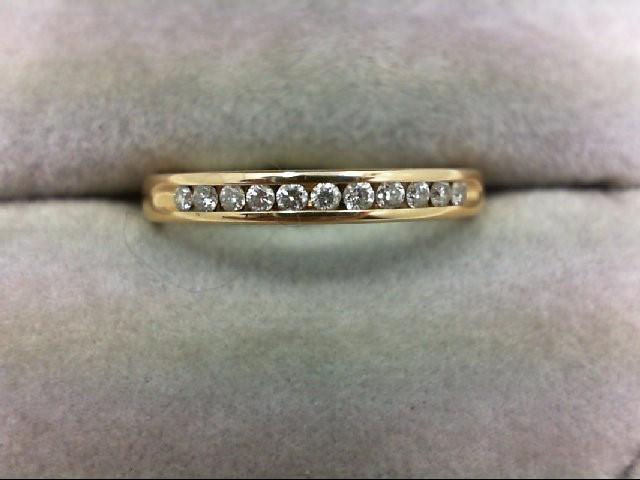 Lady's Diamond Wedding Band 11 Diamonds 0.22 Carat T.W. 14K Yellow Gold 2.8g Siz