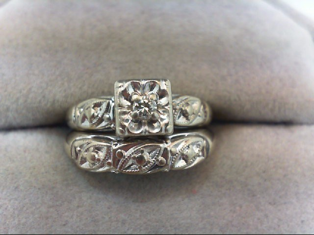Lady's Diamond Wedding Set .06 CT. 14K White Gold 3.6g