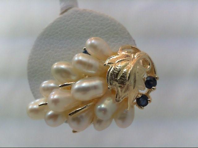 Sapphire Gold-Stone Earrings 14K Yellow Gold 6.5g