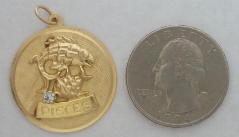 14K Yellow Gold & Aquamarine Pisces Pendant FJG Fine Jewelers Guild