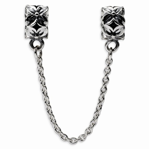 NEW RECLECTIONS FLORAL SECURITY CHAIN W/ 2 BEADS 925 SILVER