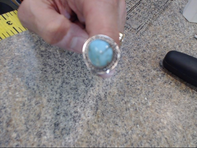 Turquoise Gent's Silver & Stone Ring 925 Silver 4.15dwt