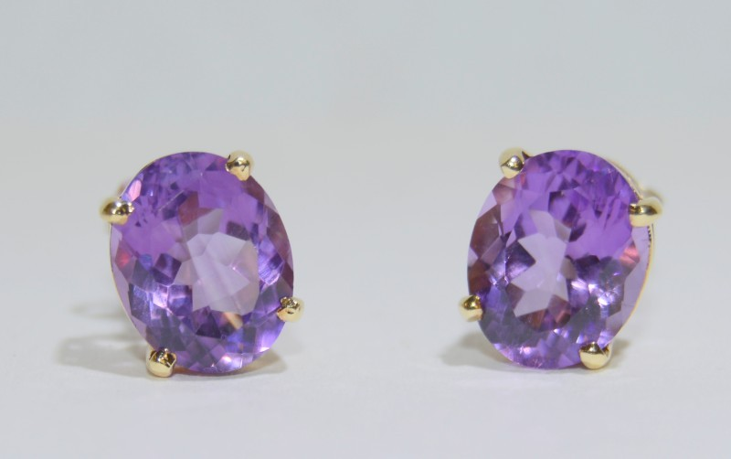 Amethyst Gold-Stone Earrings 14K Yellow Gold 2.27g