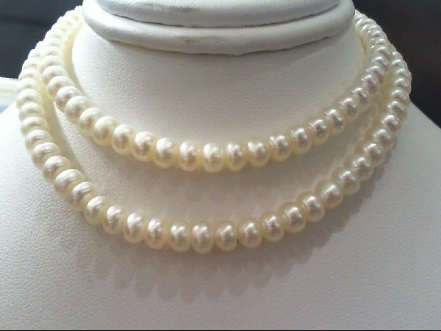 """18"""" Synthetic Pearl Strand Stone Necklace 14K Yellow Gold 18.9g"""