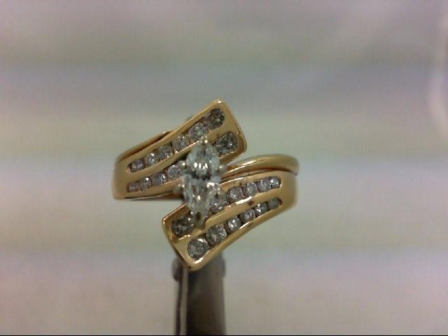 Lady's Diamond Wedding Set 27 Diamonds 1.03 Carat T.W. 14K Yellow Gold 6.27g