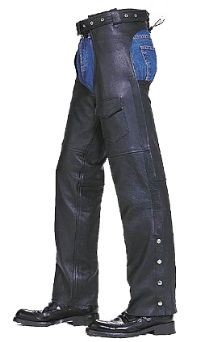 6XL LEATHER PLAIN LINED CHAPS W/FRONT POCKET