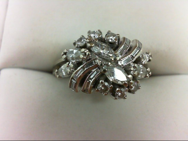 Lady's Diamond Cluster Ring 22 Diamonds 1.02 Carat T.W. 14K White Gold 4.58g