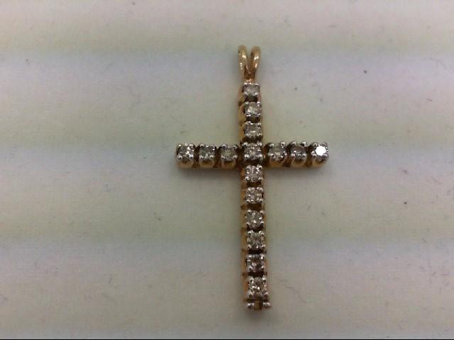 Gold-Multi-Diamond Pendant 17 Diamonds 0.68 Carat T.W. 10K Yellow Gold 3.2g