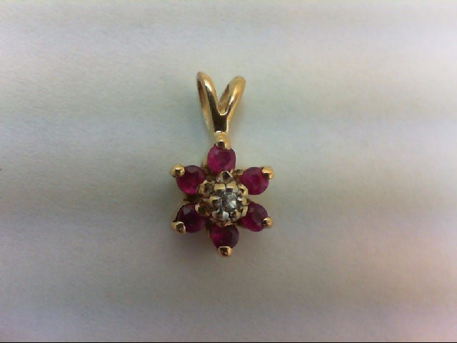 Ruby Gold-Diamond & Stone Pendant .01 CT. 14K Yellow Gold 0.7g