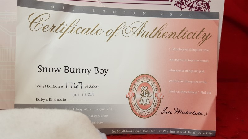 LEE MIDDLETON SNOW BUNNY COLLECTIBLE DOLL
