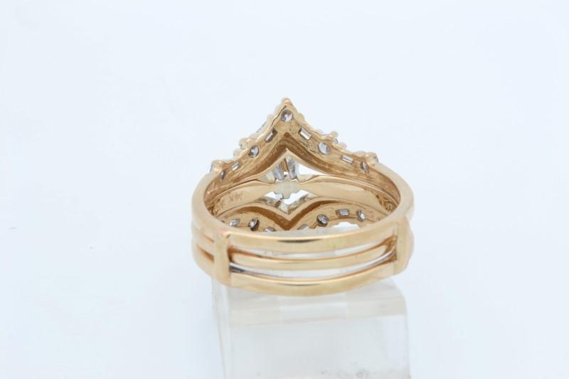 ESTATE DIAMOND WEDDING SET RING SOLID 14K GOLD ENGAGEMENT SIZE 8.25