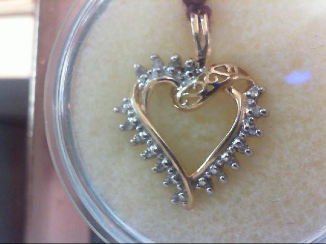 Gold-Multi-Diamond Pendant 18 Diamonds .18 Carat T.W. 10K Yellow Gold 3.4g