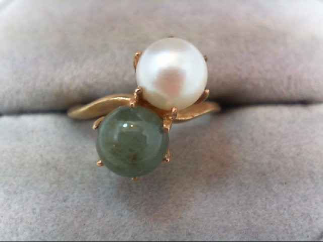Pearl Lady's Stone Ring 14K Yellow Gold 3.5g