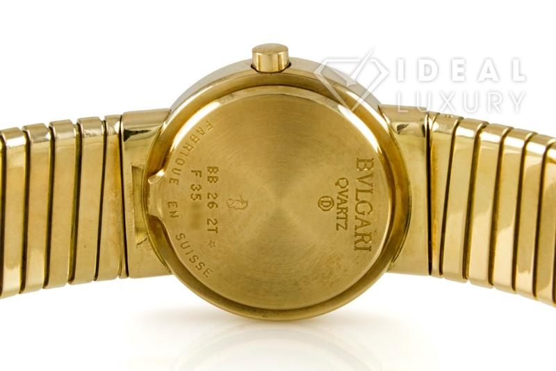 $20,400 Bulgari Ladies Tubogas 18k Yellow Gold Quartz Dress Watch BB 26 2T