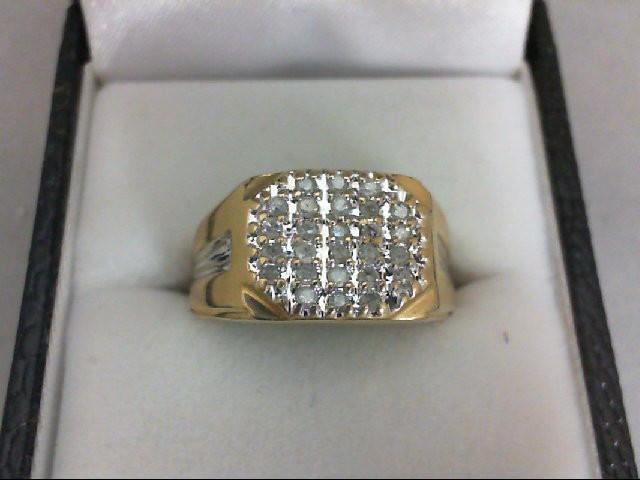 Gent's Diamond Cluster Ring 26 Diamonds 0.26 Carat T.W. 10K Yellow Gold 3.5g