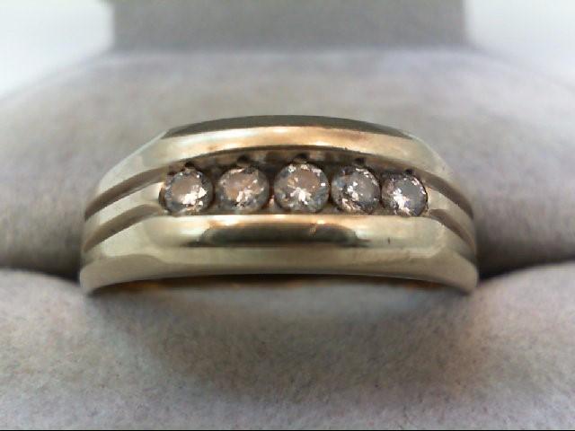 Gent's Gold-Diamond Wedding Band 5 Diamonds 0.34 Carat T.W. 14K White Gold 7.7g
