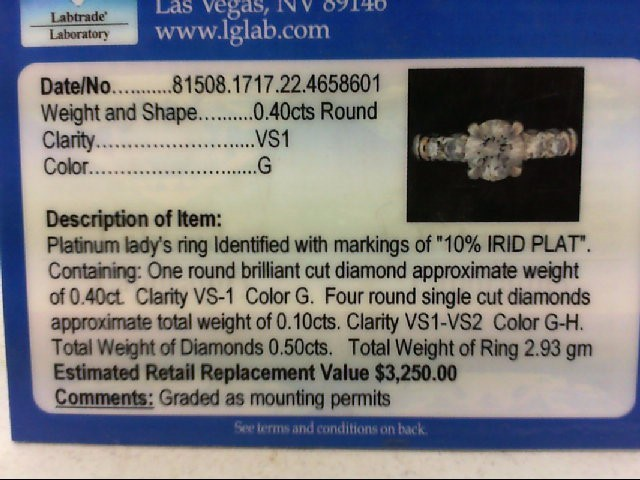Lady's Platinum-Diamond Anniversary Ring 5 Diamonds .48 Carat T.W. 900 Platinum