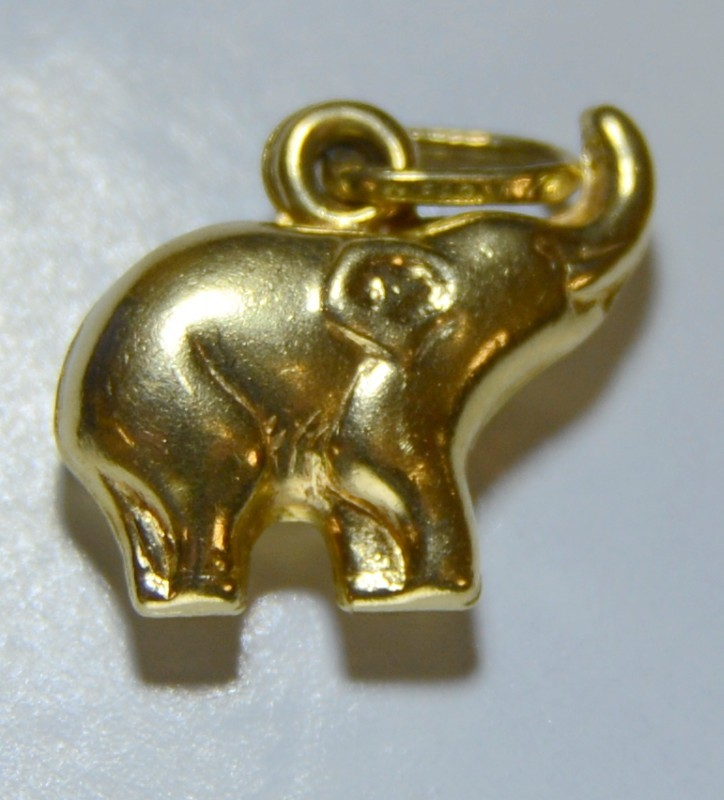18K Yellow Gold 3D Lucky Trunk Up Baby Elephant Charm Pendant